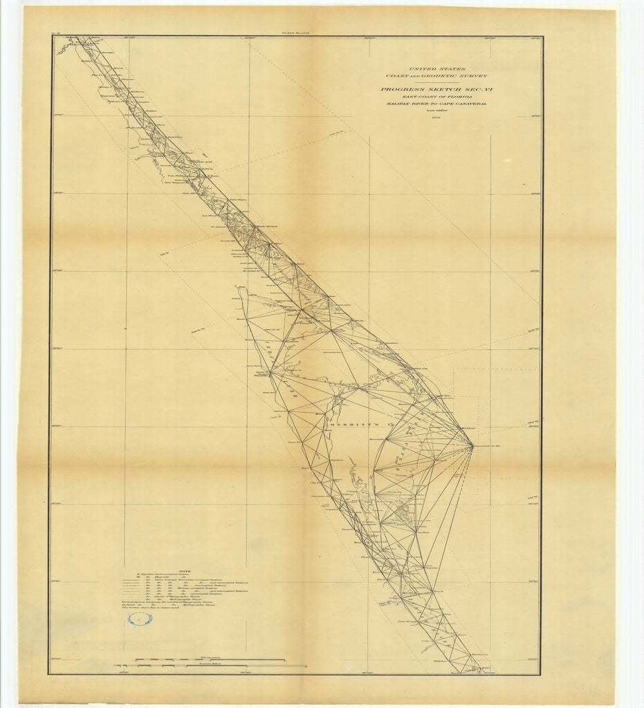 18 x 24 inch 1878 US old nautical map drawing chart of Progress Sketch, Section 6, East Coast of Florida, Halifax River to Cape Canaveral From  US Coast & Geodetic Survey x2541
