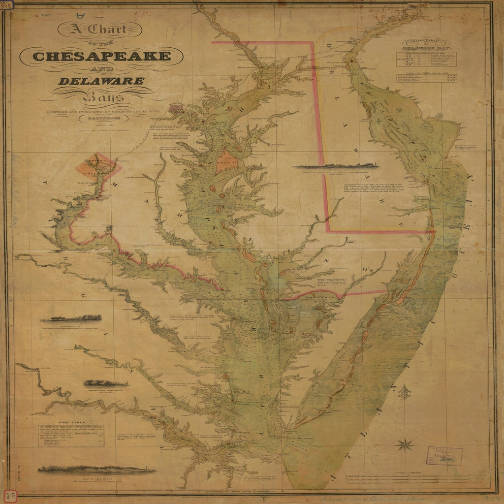 18 x 24 inch 1840 US old nautical map drawing chart of A CHART OF THE CHESAPEAKE AND DELAWARE BAYS From  Fielding Lucas x4492
