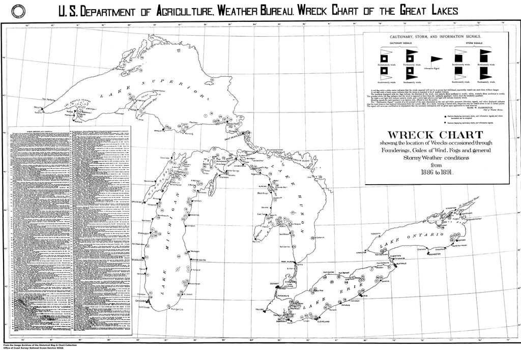 18 x 24 inch 1891 Ohio old nautical map drawing chart of Wreck Chart From  NOAA x6765