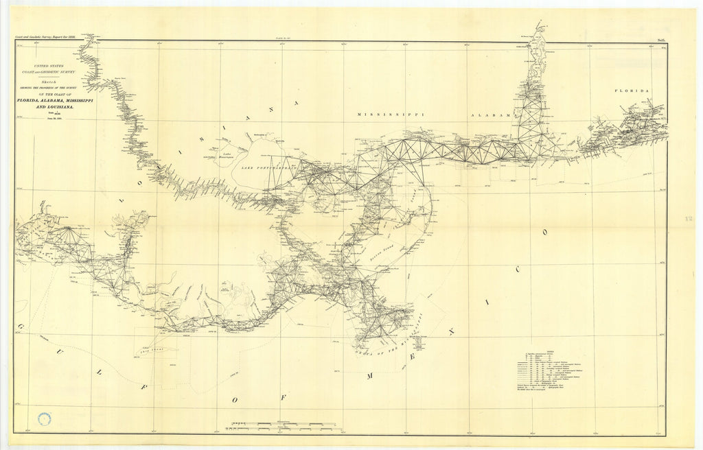 18 x 24 inch 1888 US old nautical map drawing chart of Progress on the coasts of Alabama, Mississippi, and Louisiana From  US Coast & Geodetic Survey x1143