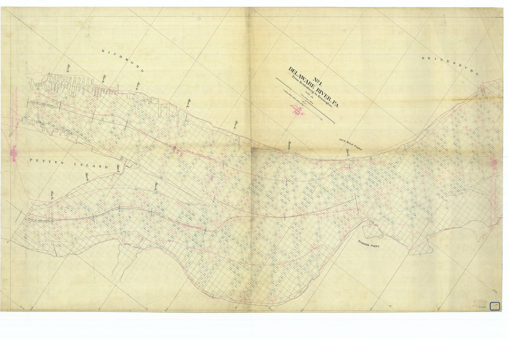 18 x 24 inch 1878 US old nautical map drawing chart of Delaware River Pennyslvania From Bridesburg to Kensington #1 From  US Coast & Geodetic Survey x1082