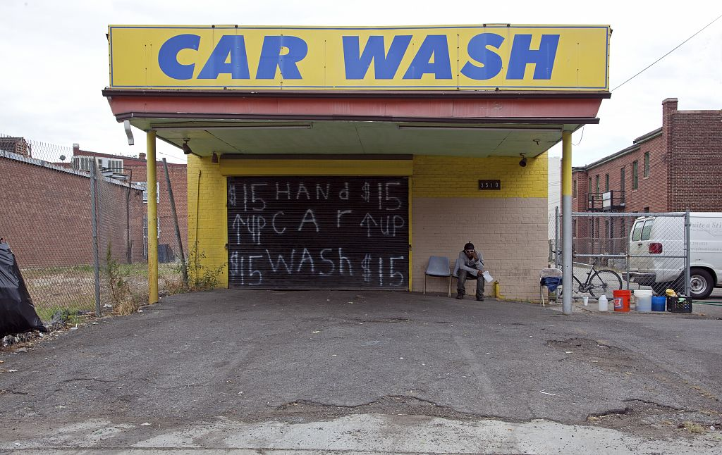 18 x 24 Photograph reprinted on fine art canvas  of Car wash Georgia Ave. near corner with Newton Pl. NW Washington D.C.  r52 2010 by Highsmith, Carol M.,