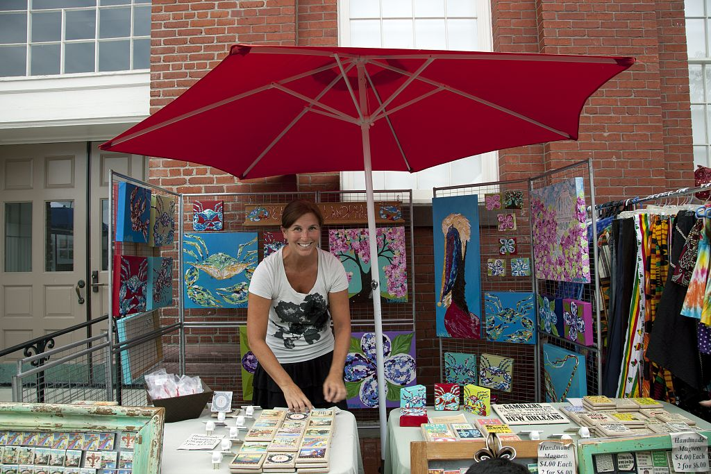 18 x 24 Photograph reprinted on fine art canvas  of Jeannette Landphair sells her artwork at the historic Eastern Market in Washington D.C. r14 2010 by Highsmith, Carol M.,