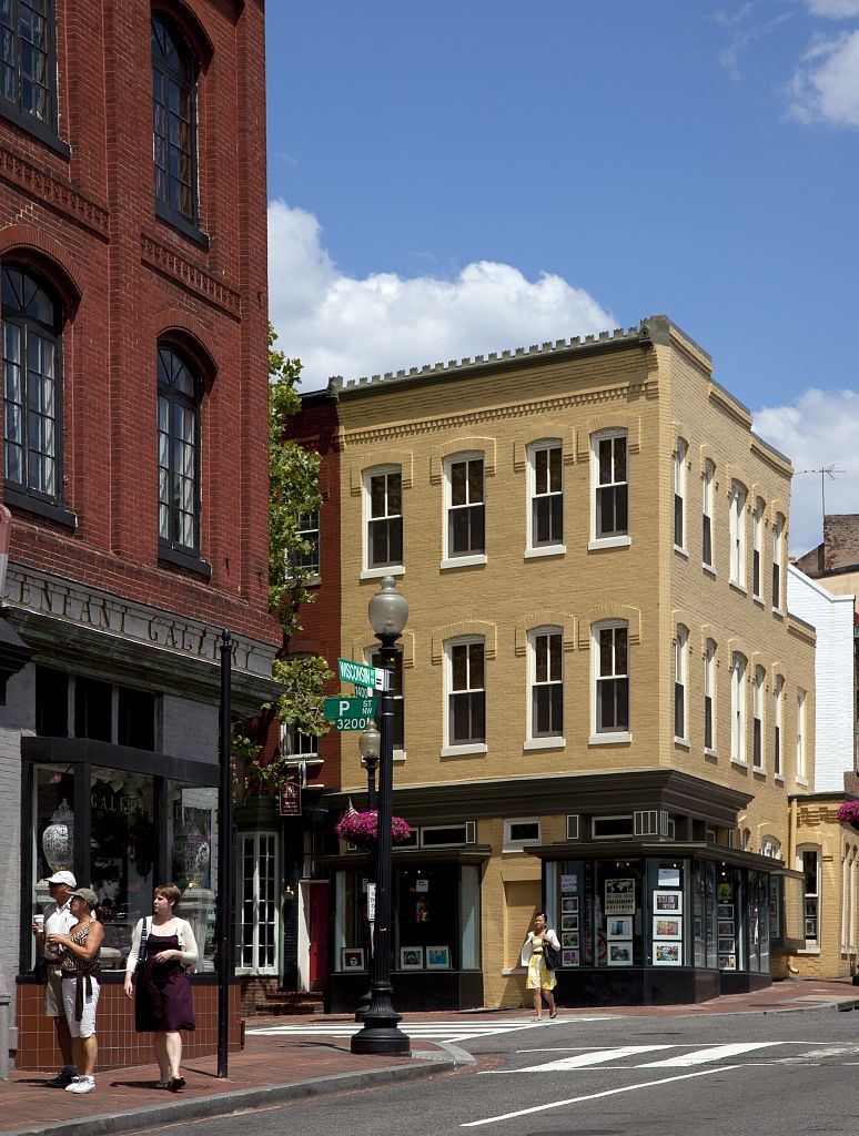 18 x 24 Photograph reprinted on fine art canvas  of Historic buildings Wisconsin Ave. NW in the Georgetown neighborhood of Washington D.C. r48 2010 by Highsmith, Carol M.,