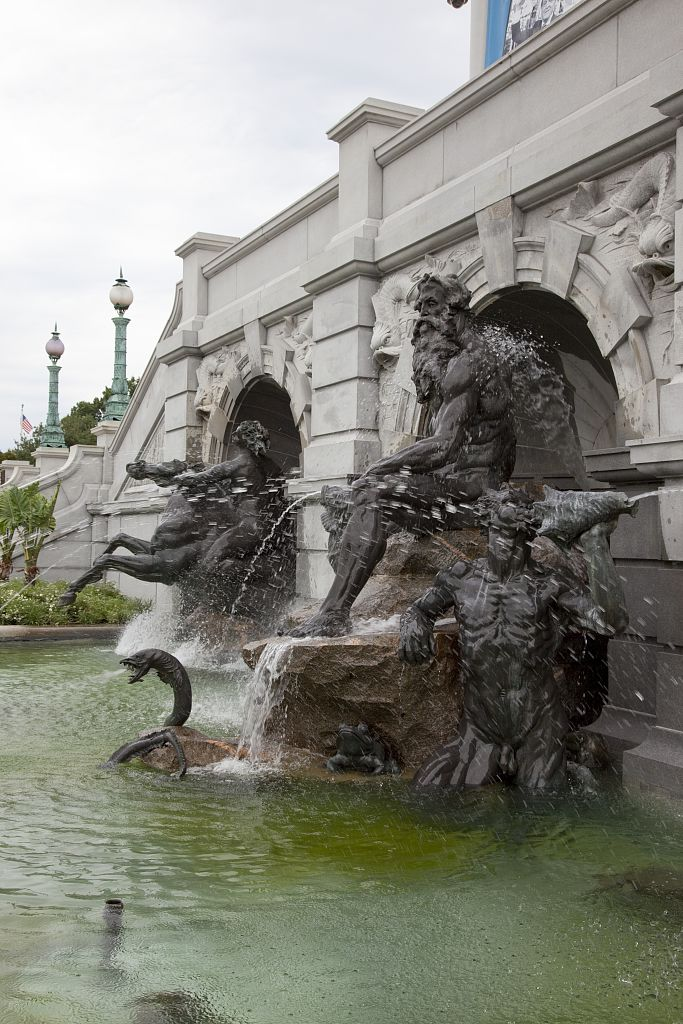 18 x 24 Photograph reprinted on fine art canvas  of Neptune Fountain located in front of the Thomas Jefferson Building at the Library of Congress Washington D.C. r57 2010 by Highsmith, Carol M.,