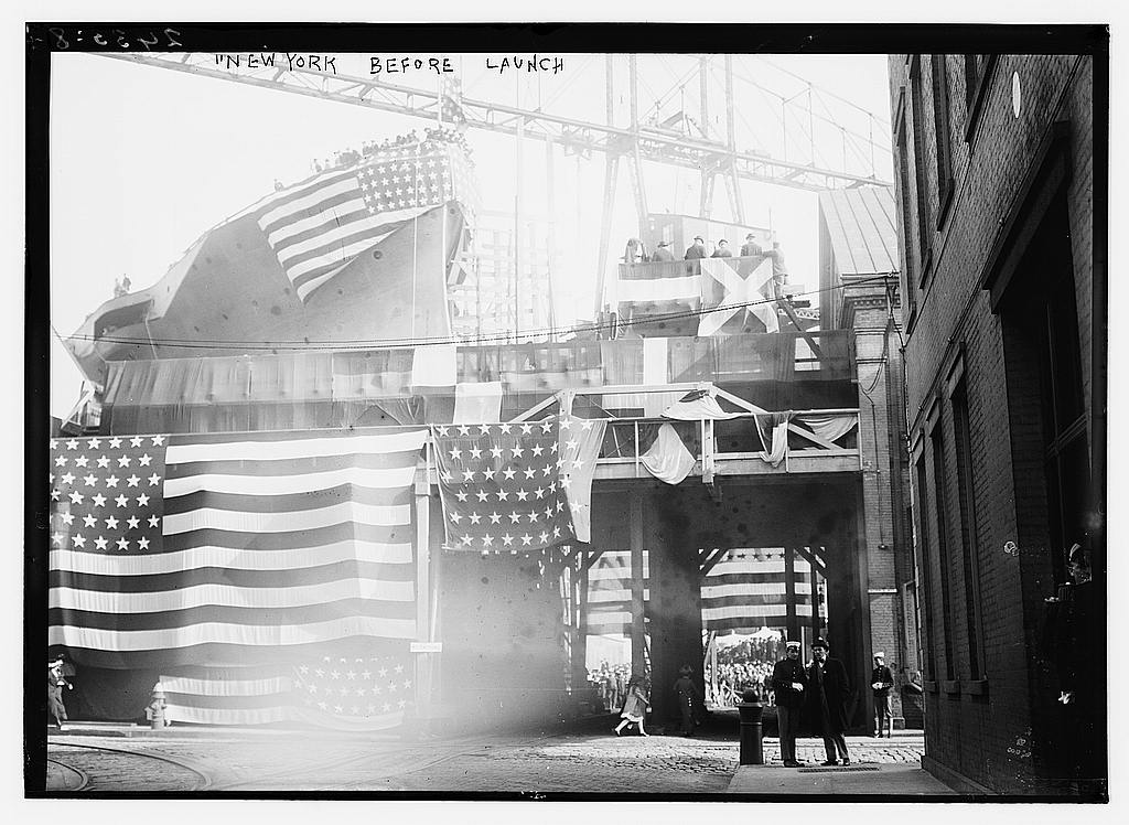 8 x 10 Photo of NEW YORK before launch 1912 G. Bain Collection 54a