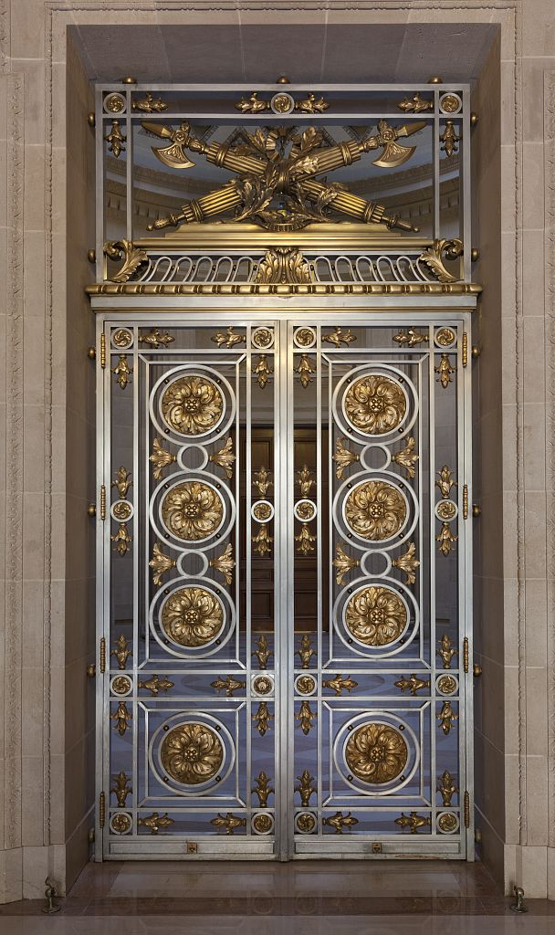 18 x 24 Photograph reprinted on fine art canvas  of East lobby decorative door EPA East and West located on 12th and Constitution Avenue N.W. and part of the Federal Triangle Washington D.C. r52 2010 by Highsmith, Carol M.,
