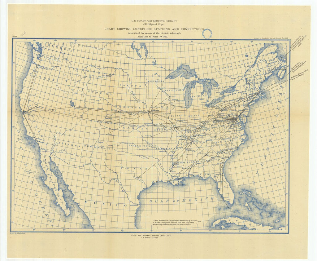 18 x 24 inch 1883 US old nautical map drawing chart of Chart Showing Longitude Stations and Connections Determined by Means of the Electric Telegraph from 1846 to June 30, 1883 From  US Coast & Geodetic Survey x1454