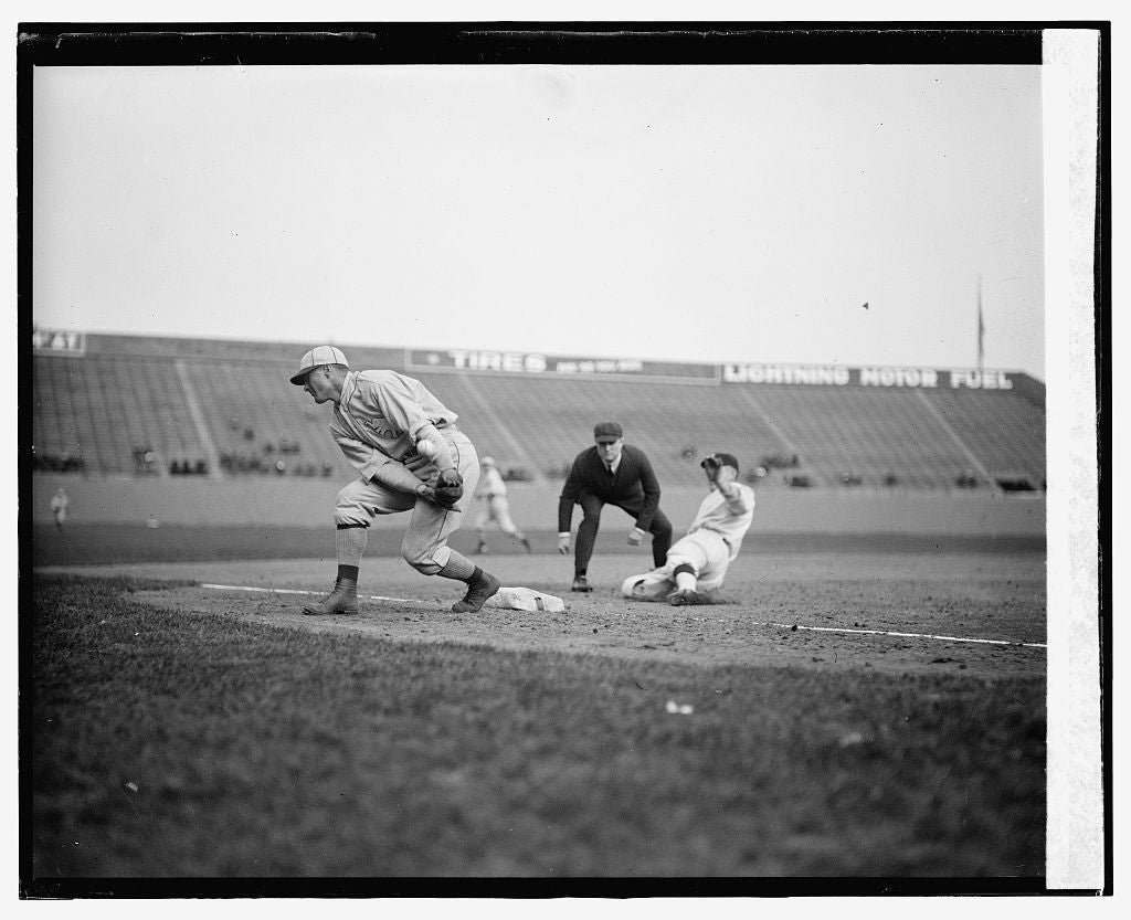 16 x 20 Gallery Wrapped Frame Art Canvas Print of  Senators Joe Judge safe at third in third inning on passed ball as Philadelphia A's third baseman Sammy Hale loses throw. 1924 National Photo Co  07a