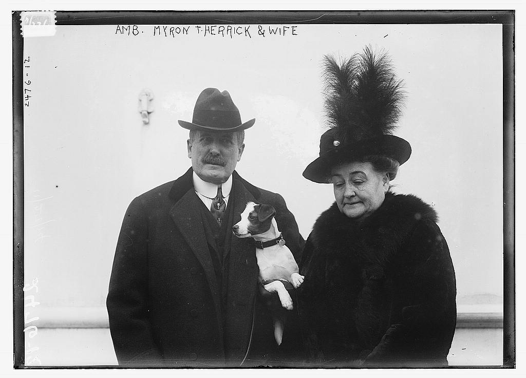 8 x 10 Photo of Amb. Myron T. Herrick & wife 1912 G. Bain Collection 73a