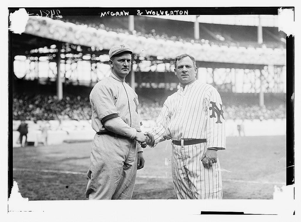 8 x 10 Photo of Harry Wolverton, New York AL, at left and John McGraw, New York NL, at right at the Polo Grounds, NY, 1912 baseball  1912 G. Bain Collection 06a