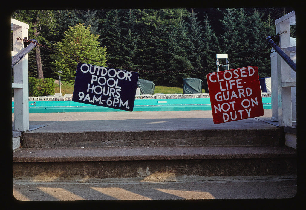 8 x 12 Photo of Raleigh, pool closed sign, South Fallsburg, New York 1978 Margolies, John 39a