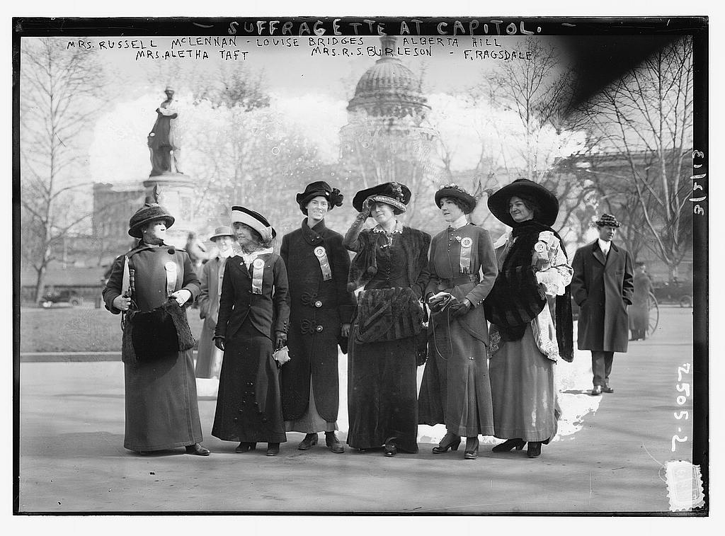 8 x 10 Photo of Suffragettes at capitol: Mrs. Russell McLennan, Mrs. Aletha Taft, Louise Bridges, Mrs. Richard Coke Burleson, Alberta Hill, F. Ragsdale 1913 G. Bain Collection 61a