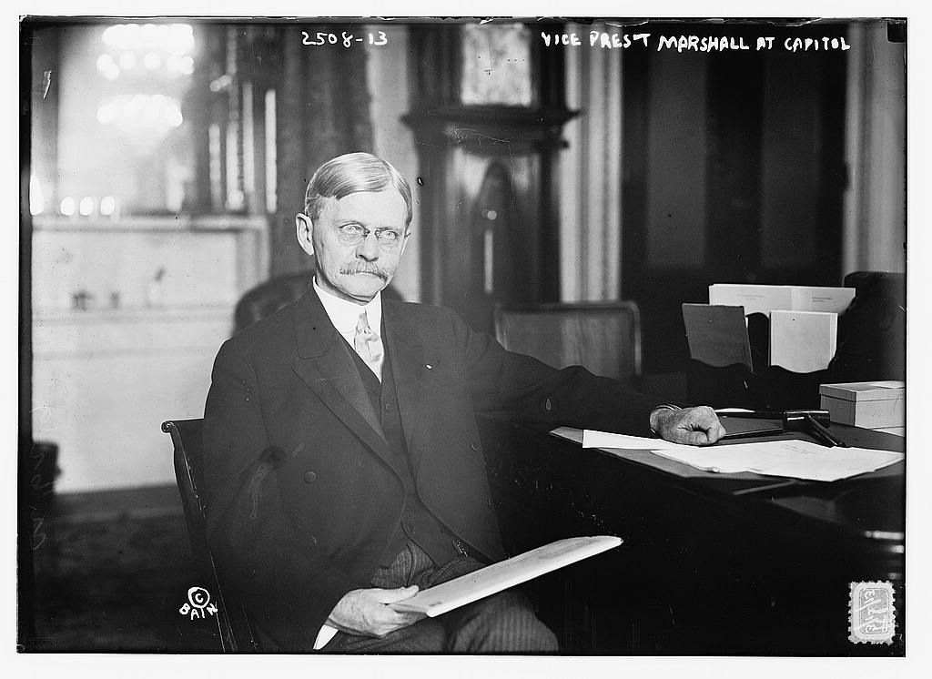 8 x 10 Photo of Vice Pres't. Marshall at Capitol 1913 G. Bain Collection 89a