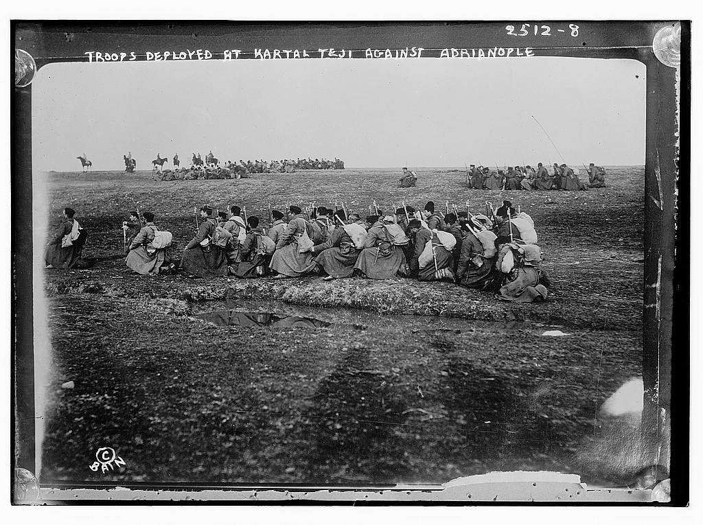 8 x 10 Photo of Troops deployed at Kartal Teji facing Adrianople 1912 G. Bain Collection 43a