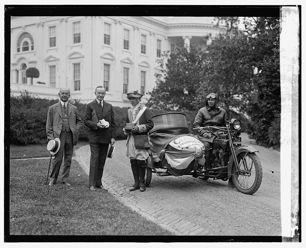 16 x 20 Reprinted Old Photo ofPresident Coolidge, sidecar motorcycle, in front of White House, 6/6/24 1924 National Photo Co  93a