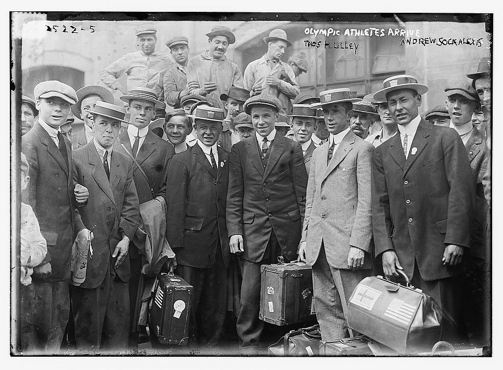8 x 10 Photo of Olympic athletes arrive. Thos. H. Lilley, Andrew Sockalexis 1912 G. Bain Collection 13a