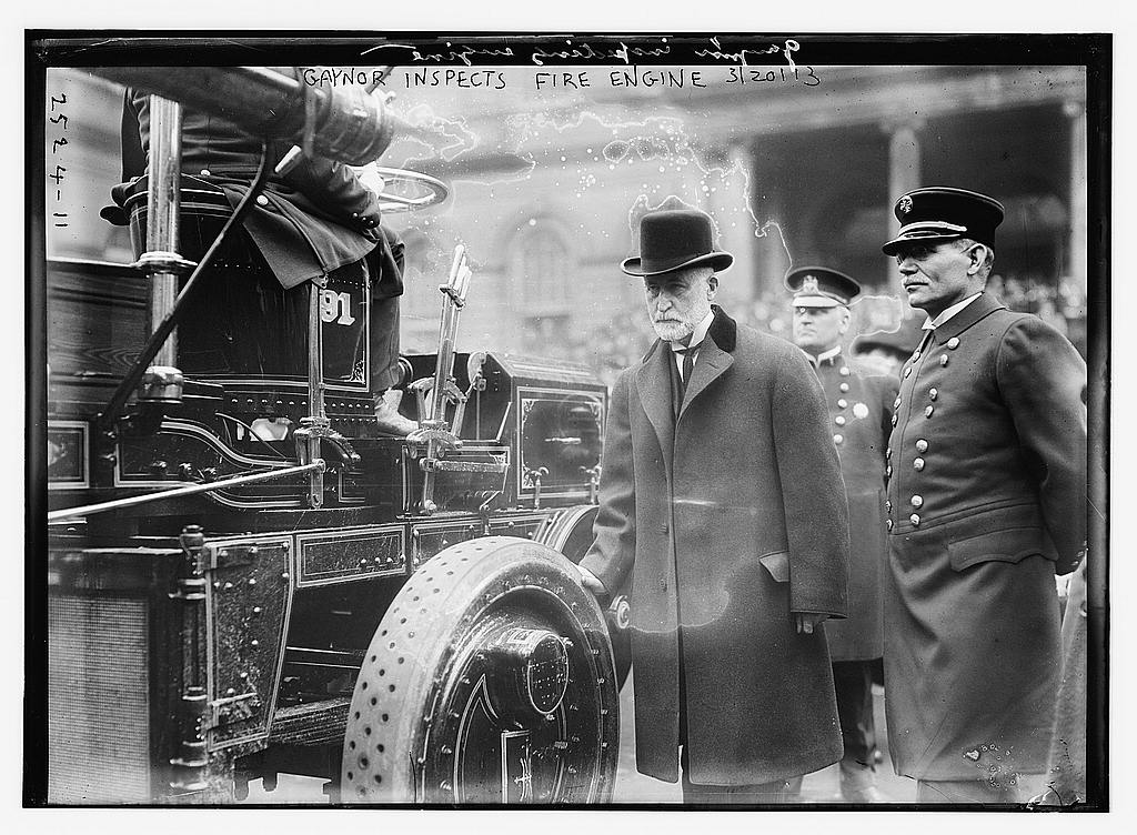 8 x 10 Photo of Gaynor inspects fire engine 1913 G. Bain Collection 63a
