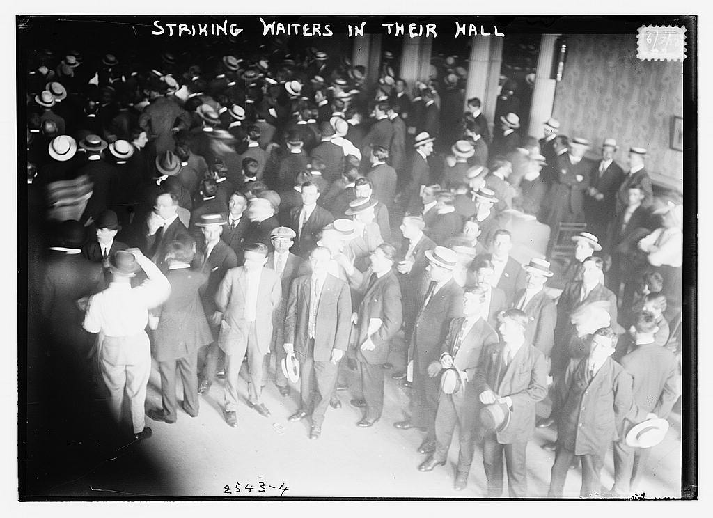 8 x 10 Photo of Striking waiters in their hall 1912 G. Bain Collection 59a