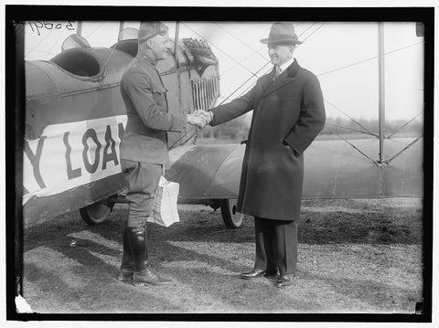 8 x 10 Reprinted Old Photo of Liberty Loans. Carter Glass Giving Victory Loan Circulars To Lt. Benjamin To Distribute By Airplane 1919 Harris & Ewing 02a