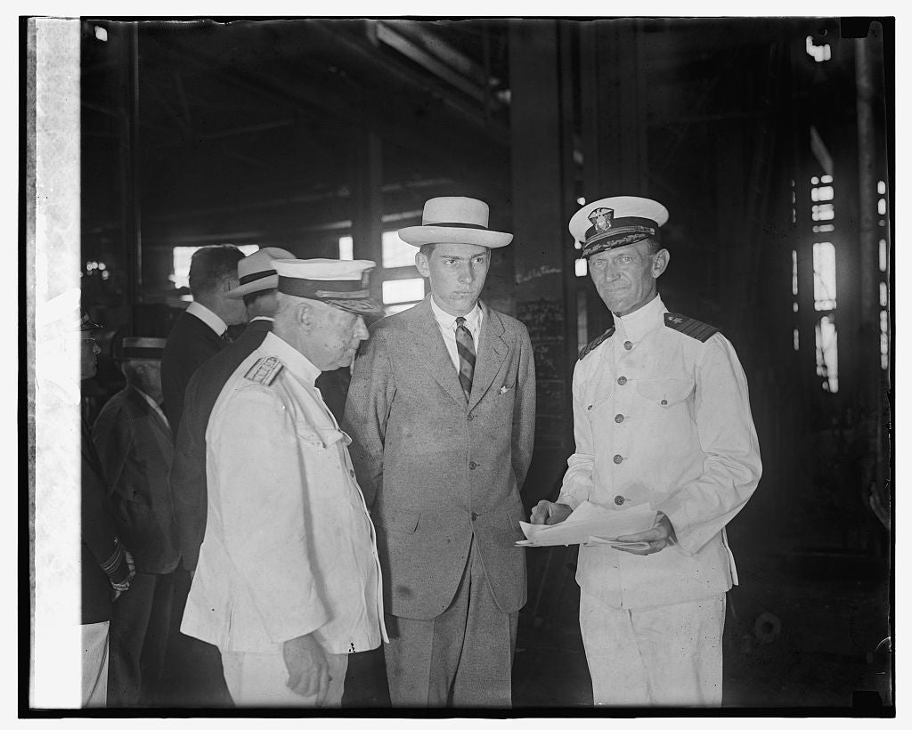 16 x 20 Gallery Wrapped Frame Art Canvas Print of John Coolidge & Admiral Hutchinson at Navy Yard, 8/1/24 1924 National Photo Co  99a