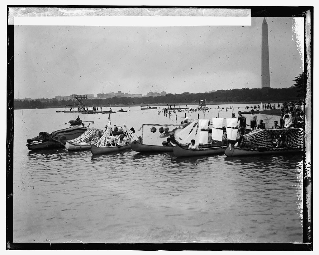 16 x 20 Gallery Wrapped Frame Art Canvas Print of Canoe Regatta and Water Carnival, Tidal Basin, 8/4/24 1924 National Photo Co  01a