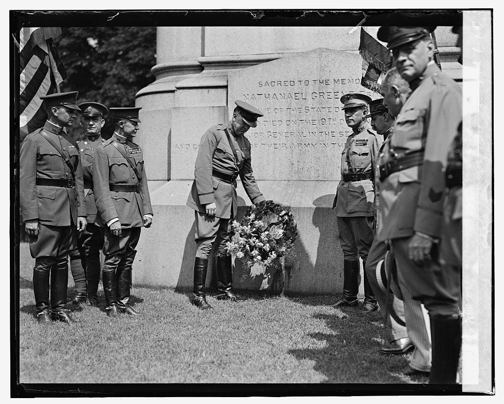 16 x 20 Gallery Wrapped Frame Art Canvas Print of Anniversary ceremonies at statue of Nathaniel Greene, 8/7/24 1924 National Photo Co  59a