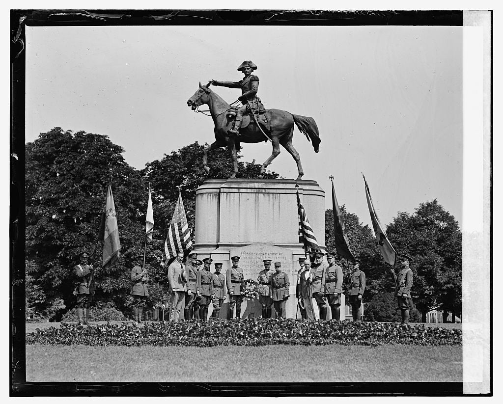 16 x 20 Gallery Wrapped Frame Art Canvas Print of Anniversary ceremonies at statue of Nathaniel Greene, 8/7/24 1924 National Photo Co  60a