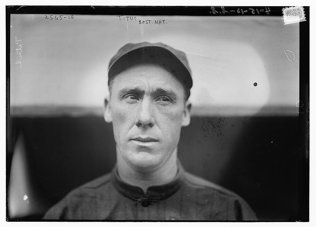 8 x 10 Photo of John Titus, Boston NL baseball  1913 G. Bain Collection 66a