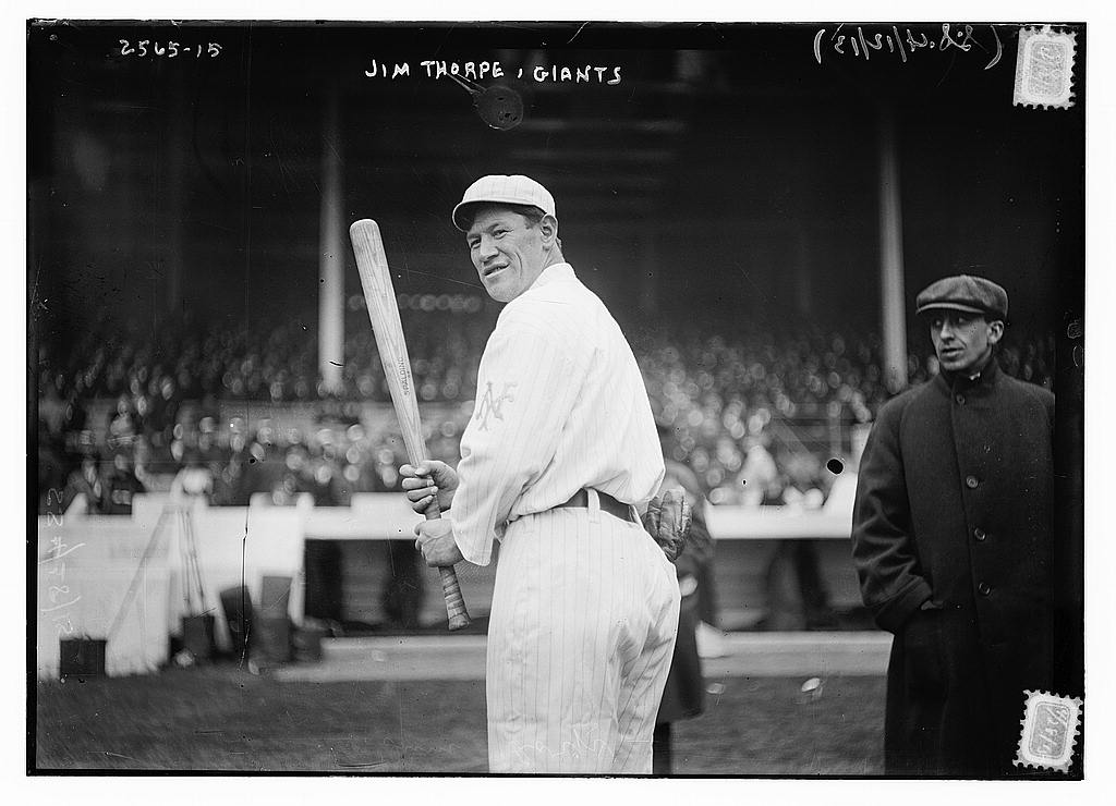 8 x 10 Photo of Jim Thorpe, New York NL, at Polo Grounds, NY baseball  1913 G. Bain Collection 70a