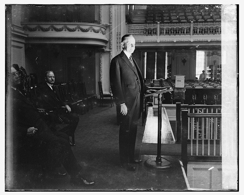 16 x 20 Gallery Wrapped Frame Art Canvas Print of Pres. Coolidge at notification ceremonies, 8/14/24 1924 National Photo Co  44a