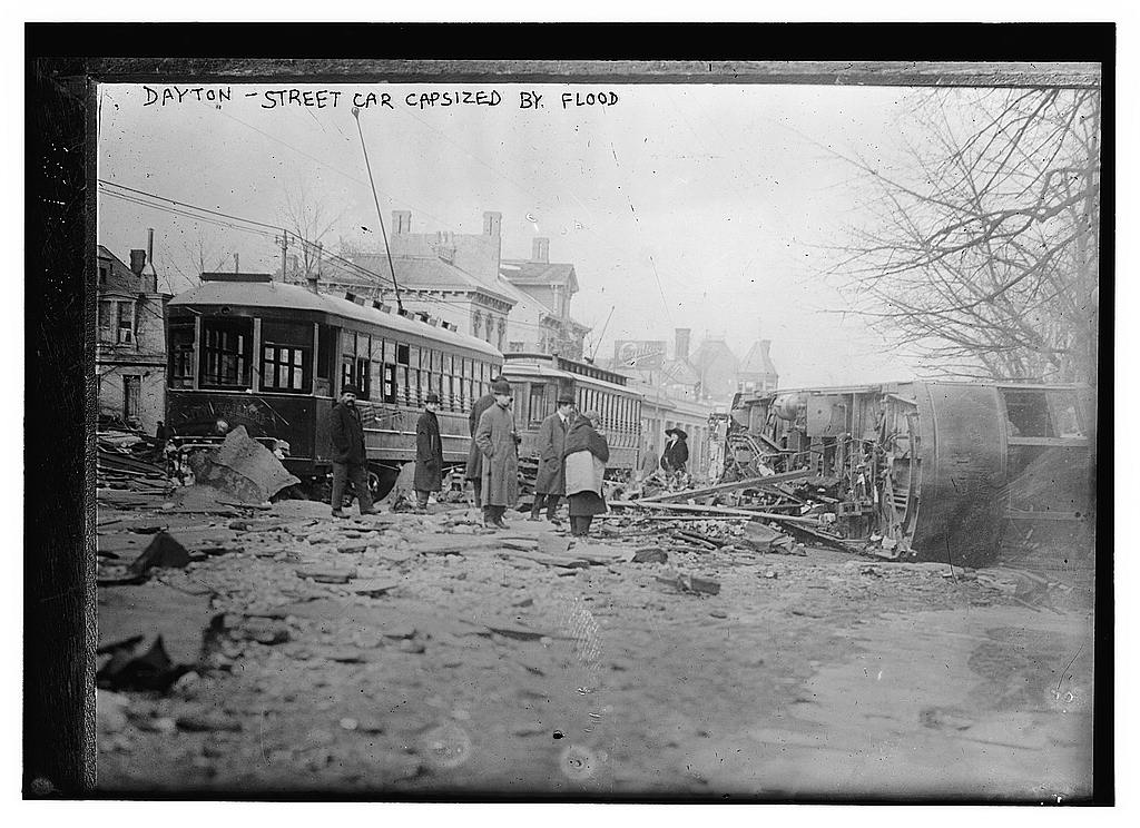 8 x 10 Photo of Dayton Streetcar capsized by flood 1913 G. Bain Collection 03a