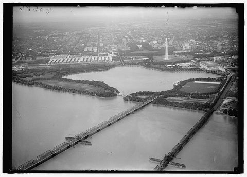 8 x 10 Reprinted Old Photo of Long Bridge. Airplane View Of, With Tidal Basin, Monument, Etc. 1919 Harris & Ewing 12a