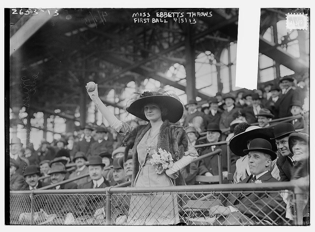 8 x 10 Photo of Miss Genevieve Ebbets, youngest daughter of Charley Ebbets, throws first ball at opening of Ebbets Field baseball  1913 G. Bain Collection 55a