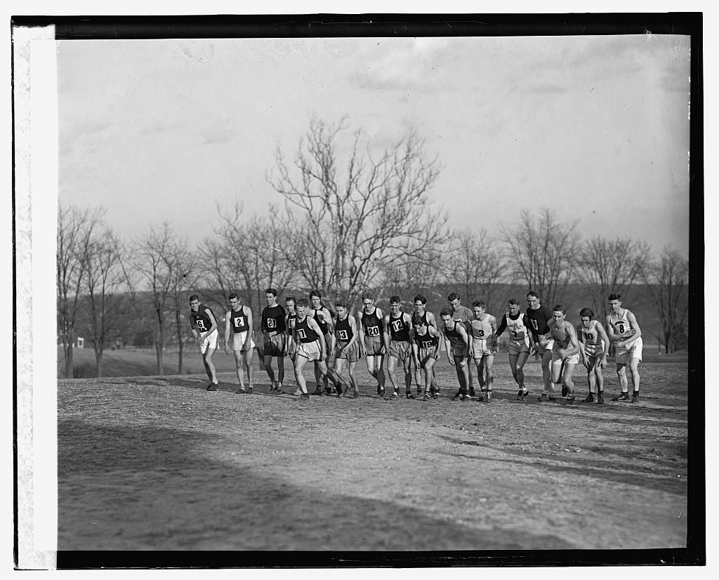 16 x 20 Reprinted Old Photo of Six mile cross country run of South Atlantic AAU at College Park, Maryland, 12/13/24 1924 National Photo Co  96a
