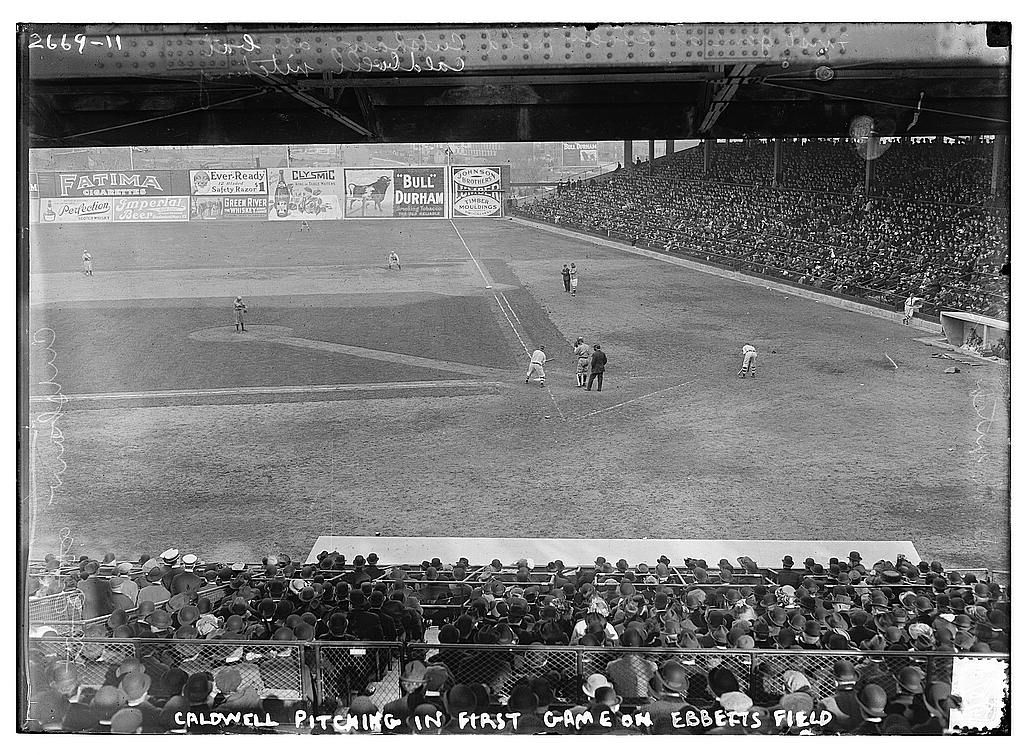 8 x 10 Photo of Ray Caldwell, New York AL, pitching in exhibition game which was the first game at Ebbets Field, April 5, 1913 baseball  1913 G. Bain Collection 92a
