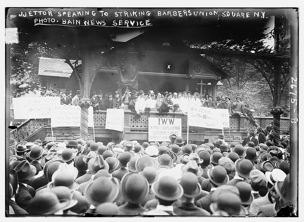8 x 10 Photo of J.J. Ettor speaking to striking barbers Union Square, N.Y. 1913 G. Bain Collection 04a