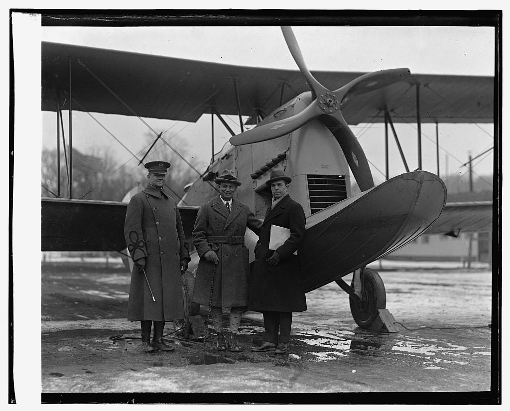 16 x 20 Reprinted Old Photo ofAmphibian plane, Maj. Clagett, Gen. Mitchell, Grover Loe..., 1/19/25 1925 National Photo Co  39a