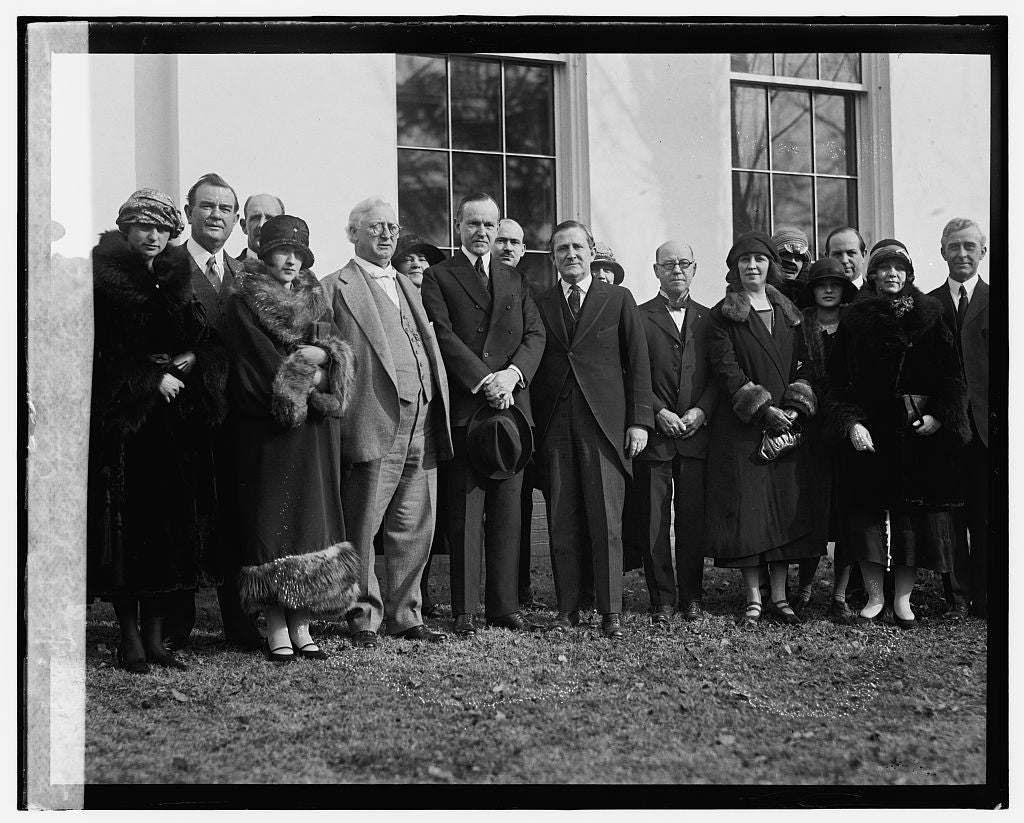 16 x 20 Reprinted Old Photo ofTexas delegation inviting Coolidge to West Texas Chamber of Commerce meeting, 2/4/25 1925 National Photo Co  37a