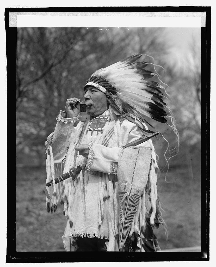 16 x 20 Reprinted Old Photo ofChief Whirlwind Soldier from Rosebud Reservation, S.D., 3/10/25 1925 National Photo Co  30a