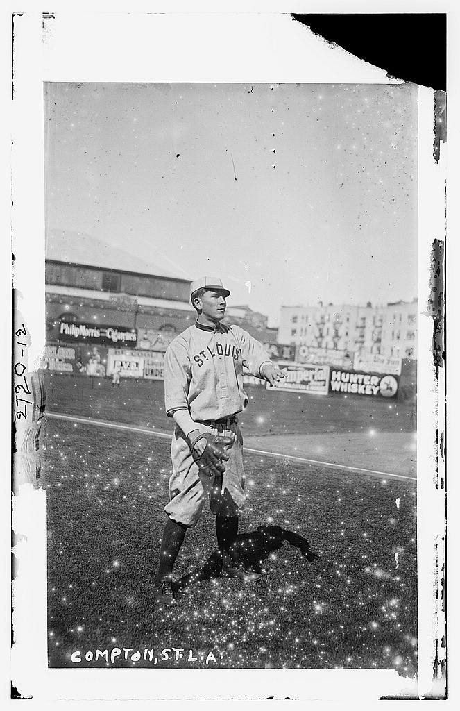 8 x 10 Photo of Pete Compton, St. Louis AL, at Hilltop Park, NY baseball  1912 G. Bain Collection 45a