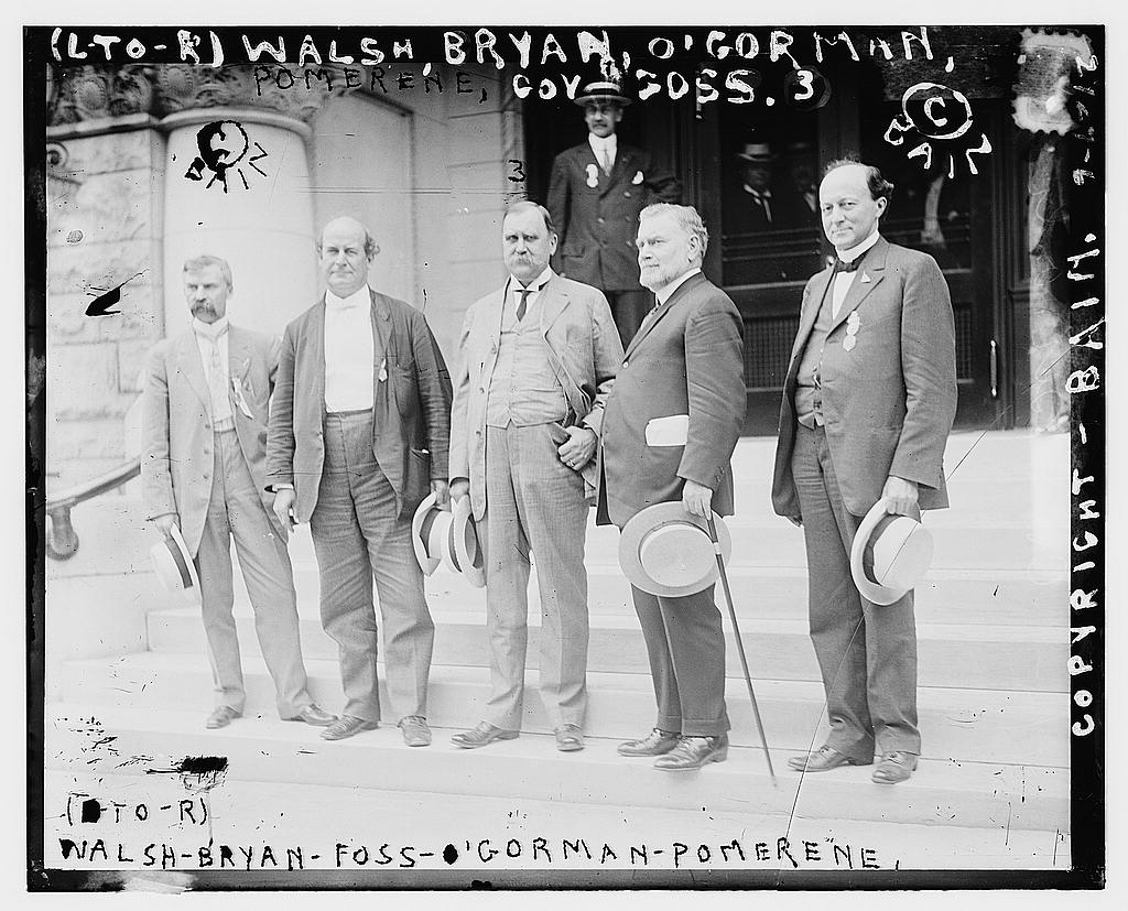 8 x 10 Photo of  L to R Walsh, Bryan, Foss, O'Gorman, Pomerene 1912 G. Bain Collection 61a
