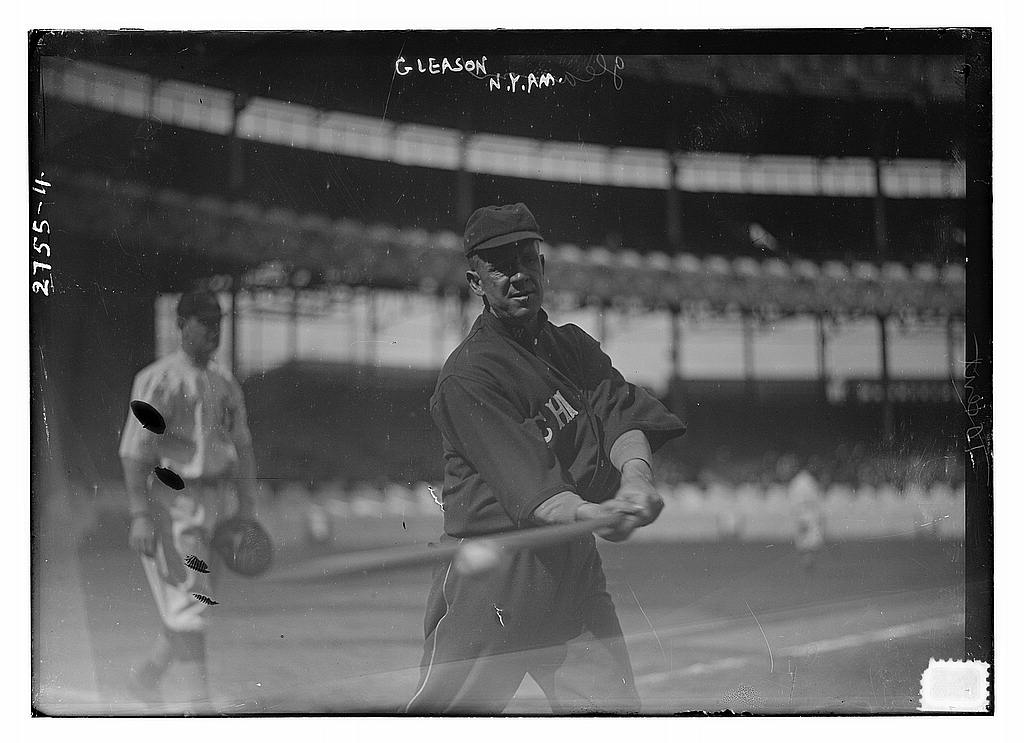 8 x 10 Photo of Unidentified catcher, New York AL, at left and Kid Gleason, Chicago AL, at right at the Polo Grounds, NY 1913 G. Bain Collection 57a