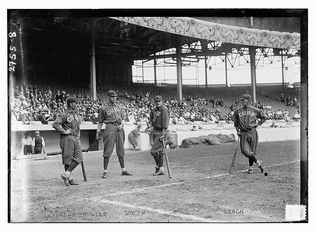 8 x 10 Photo of Jimmy Lavender, Ward Miller, Charlie Smith, Tommy Leach, Chicago NL, at Polo Grounds, NY baseball  1913 G. Bain Collection 61a