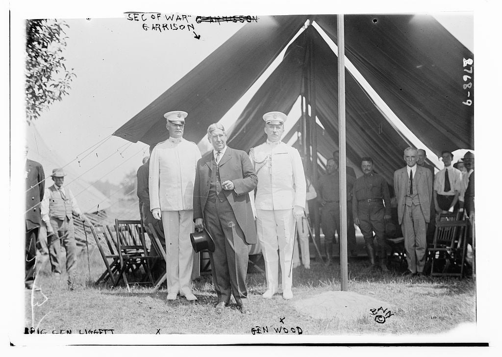 8 x 10 Photo of Brig Gen Liggett, Sec. of War Garrison, Gen Wood 1913 G. Bain Collection 08a