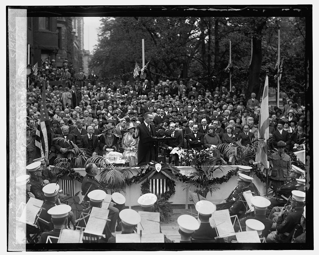 16 x 20 Gallery Wrapped Frame Art Canvas Print of Coolidge at cornerstone laying of Jewish Community Center, 5/3/25 1925 National Photo Co  84a