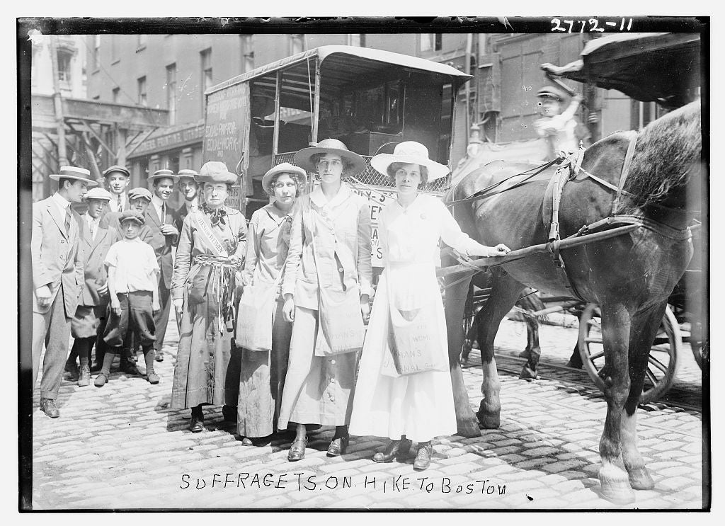 8 x 10 Photo of Suffragets i.e., suffragettes on hike to Boston 1913 G. Bain Collection 27a