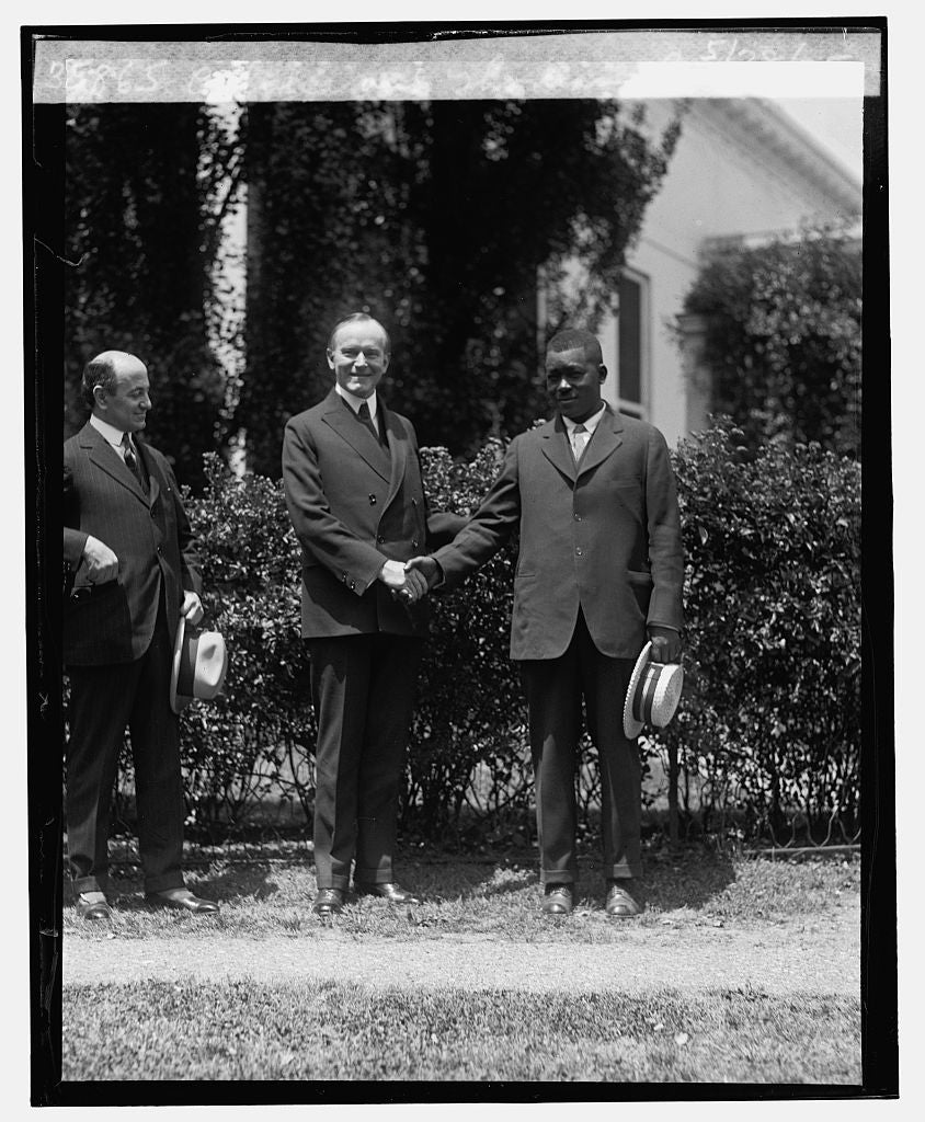 16 x 20 Reprinted Old Photo ofCoolidge and Thomas Lee, 5/28/25 1925 National Photo Co  10a