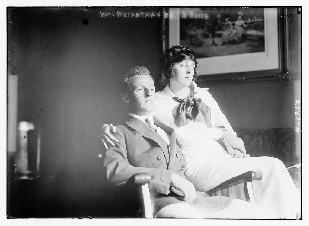 8 x 10 Photo of Wm. Weightman 3d and bride 1913 G. Bain Collection 54a