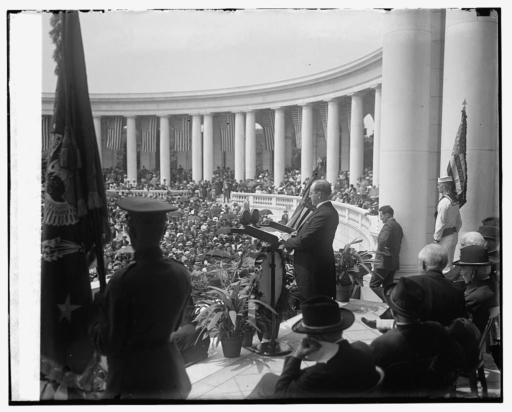 16 x 20 Gallery Wrapped Frame Art Canvas Print of Coolidge at Arlington, 5/20/25 1925 National Photo Co  03a